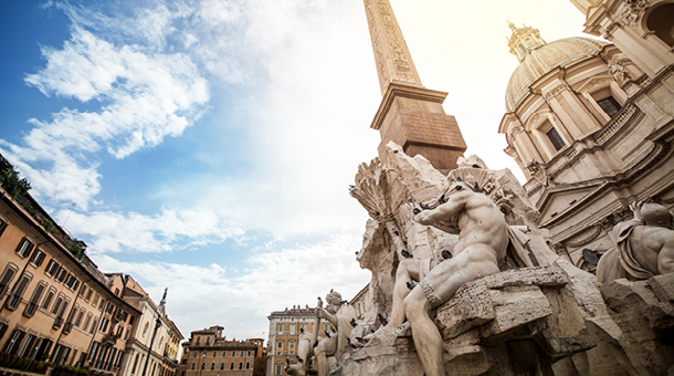 View of the The Trevi Fountain in Rome